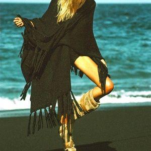 Free People Jen's Pirate Booty Black Shawl Poncho